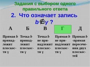 Задания с выбором одного правильного ответа 2. Что означает запись b γ ? А Б