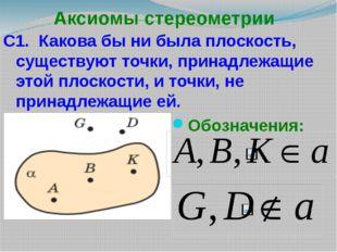 Аксиомы стереометрии С1. Какова бы ни была плоскость, существуют точки, прина