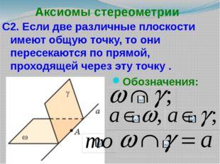 Аксиомы стереометрии С2. Если две различные плоскости имеют общую точку, то о