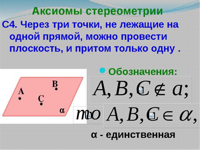 Аксиомы стереометрии С4. Через три точки, не лежащие на одной прямой, можно п...