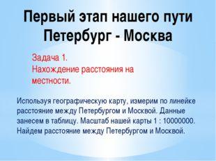 Первый этап нашего пути Петербург - Москва Задача 1. Нахождение расстояния на