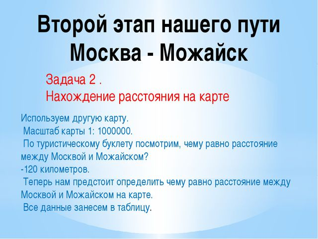 Второй этап нашего пути Москва - Можайск Задача 2 . Нахождение расстояния на...