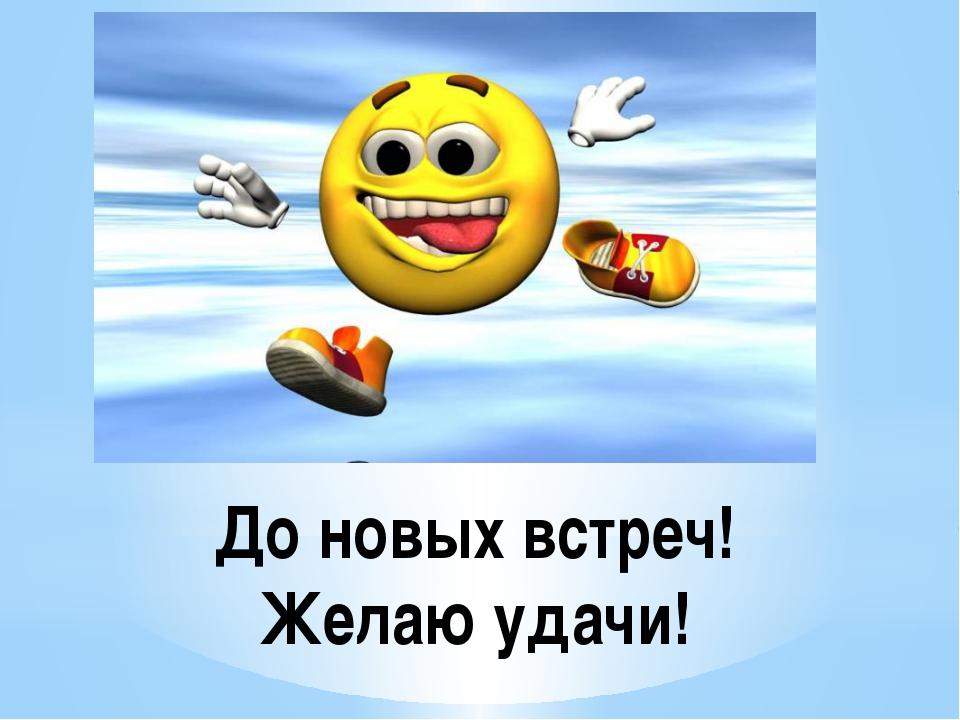 До новых встреч! Желаю удачи!