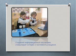 Создание информационной обстановки, стимулирует интерес и пытливость учащихся.