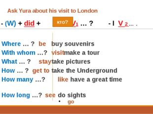 Ask Yura about his visit to London 	- (W) + did + + V1 … ? - I V 2 … . 1.