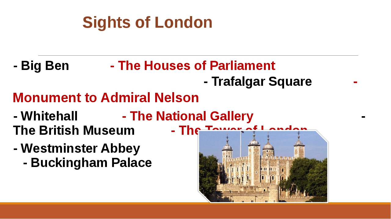 Sights of London - Big Ben			 		- The Houses of Parliament - Trafalgar Squ...