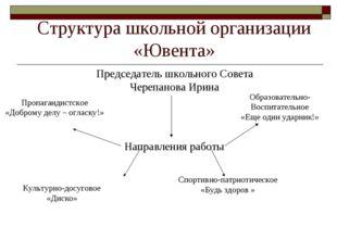 Структура школьной организации «Ювента» Председатель школьного Совета Черепан