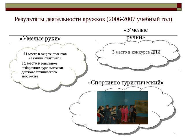 Результаты деятельности кружков (2006-2007 учебный год) ⋆1 место в защите пр...