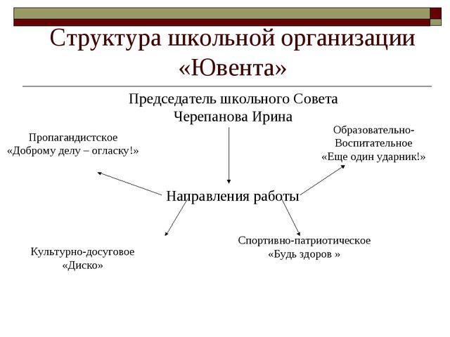 Структура школьной организации «Ювента» Председатель школьного Совета Черепан...