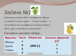 Задача №1 Для компота купили 1800 г сухофруктов. Яблоки составляют 4 части, г