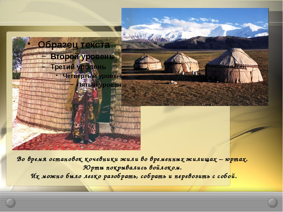 Во время остановок кочевники жили во временных жилищах – юртах. Юрты покрывал...
