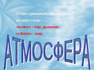 Слово греческое, образовано из двух слов: «атмос» - пар, дыхание, «сфера» - ш