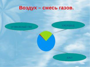 Воздух – смесь газов. углекислый газ кислород азот