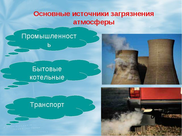 Основные источники загрязнения атмосферы Промышленность Бытовые котельные Тра...