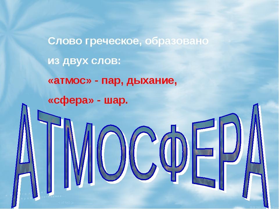 Слово греческое, образовано из двух слов: «атмос» - пар, дыхание, «сфера» - ш...