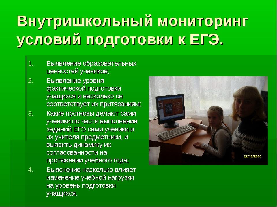 Внутришкольный мониторинг условий подготовки к ЕГЭ. Выявление образовательных...