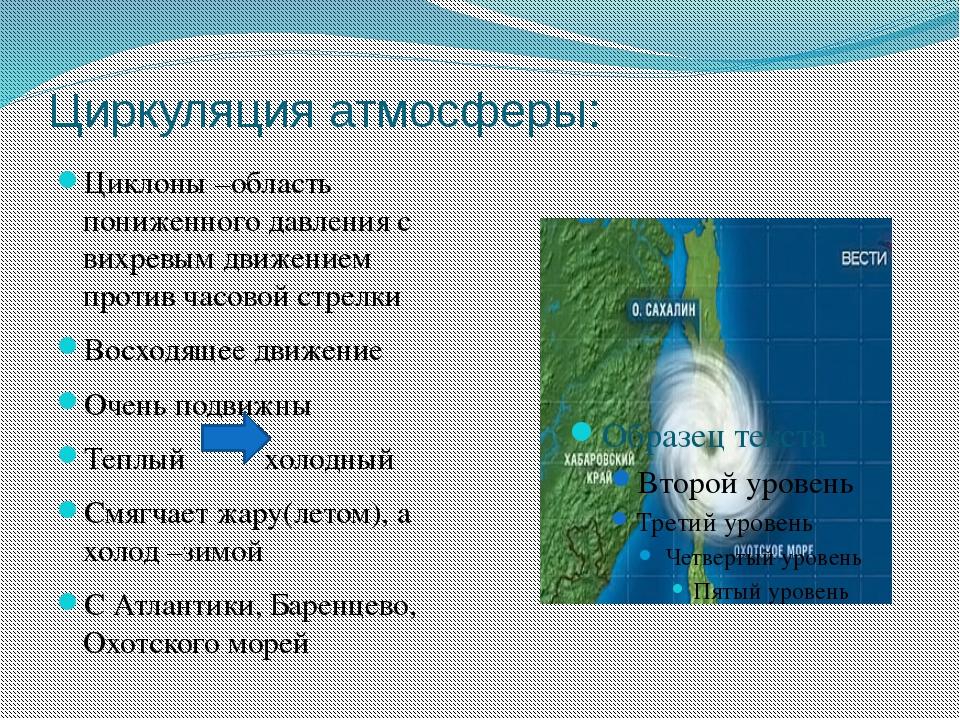 Циркуляция атмосферы: Циклоны –область пониженного давления с вихревым движен...