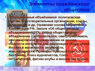 Элементы гражданского общества Общественные объединения: политические партии,