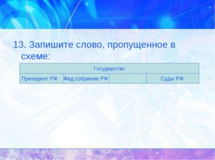 13. Запишите слово, пропущенное в схеме: Государство Президент РФ Фед.собрани
