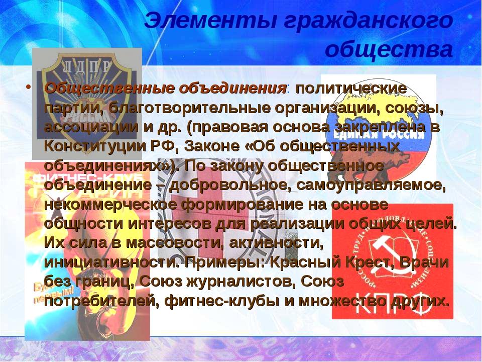 Элементы гражданского общества Общественные объединения: политические партии,...
