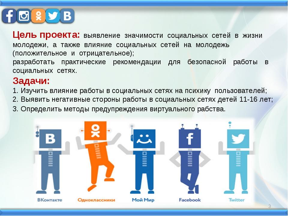 Цель проекта: выявление значимости социальных сетей в жизни молодежи,...