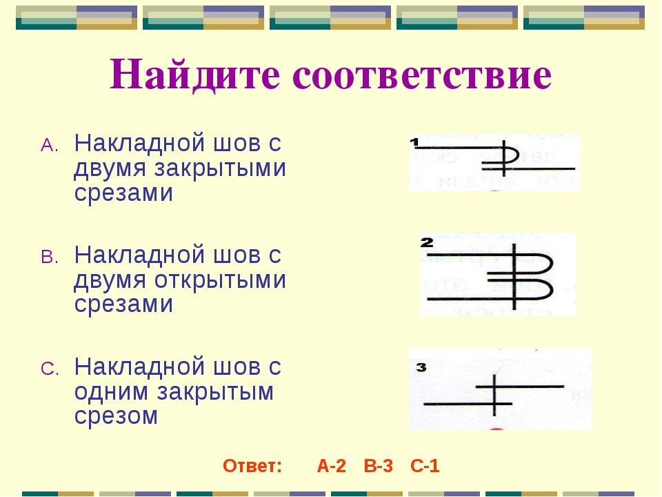 Найдите соответствие Накладной шов с двумя закрытыми срезами Накладной шов с...