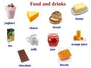 yoghurt cheese milk orange juice tea bread butter jam Food and drinks chocola