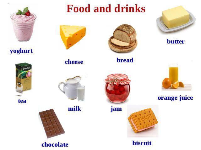 yoghurt cheese milk orange juice tea bread butter jam Food and drinks chocola...