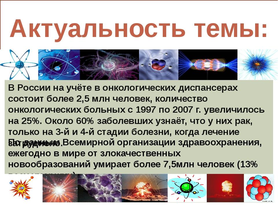 Актуальность темы: В России на учёте в онкологических диспансерах состоит бо...