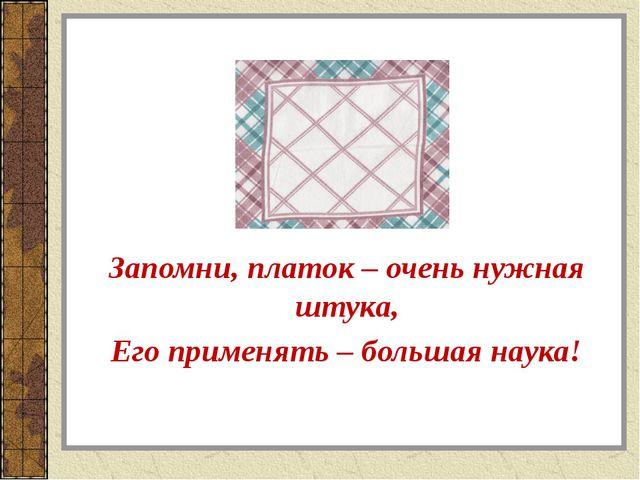 Запомни, платок – очень нужная штука, Его применять – большая наука!
