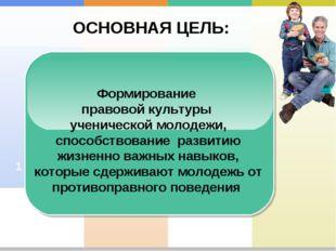 ОСНОВНАЯ ЦЕЛЬ: 2 1 Формирование правовой культуры ученической молодежи, спосо