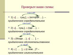 Проверьте ваши схемы: 1) 1)[ … сущ.], 2) (которая …). – придаточное определит