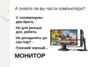 А знаете ли вы части компьютера? С телевизором - два брата, Но для разных дел