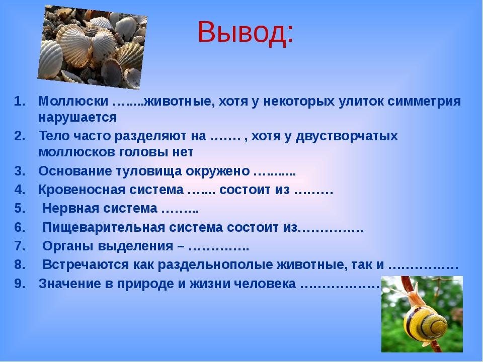 Вывод: Моллюски ….....животные, хотя у некоторых улиток симметрия нарушается...