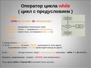 Оператор цикла while ( цикл с предусловием ) СИНТАКСИС: while  do ;  - выраже