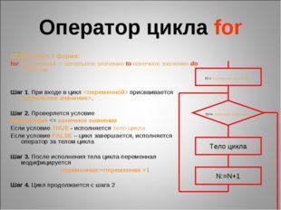 Оператор цикла for СЕМАНТИКА 1 форма: for переменная := начальное значение to