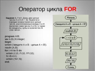 Оператор цикла FOR Задание 1. For2. Даны два целых числаA иB (A