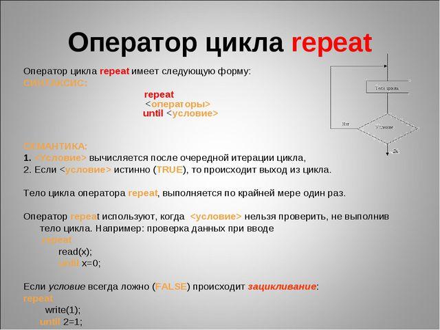 Оператор цикла repeat Оператор цикла repeat имеет следующую форму: СИНТАКСИС:...