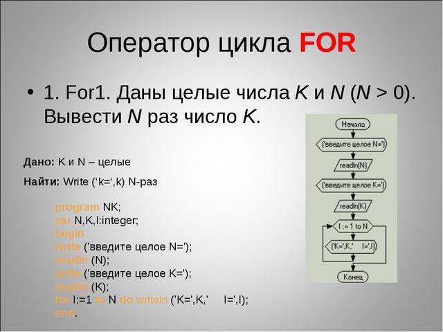 Оператор цикла FOR 1. For1. Даны целые числаK иN (N>0). Вывести Nраз чис...