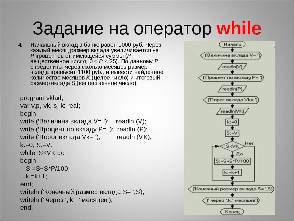 Задание на оператор while Начальный вклад в банке равен 1000руб. Через кажды...