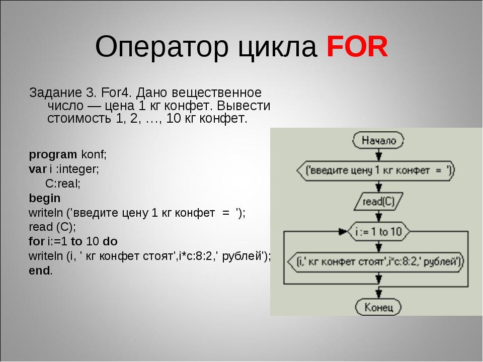 Оператор цикла FOR Задание 3. For4. Дано вещественное число — цена 1кг конфе...