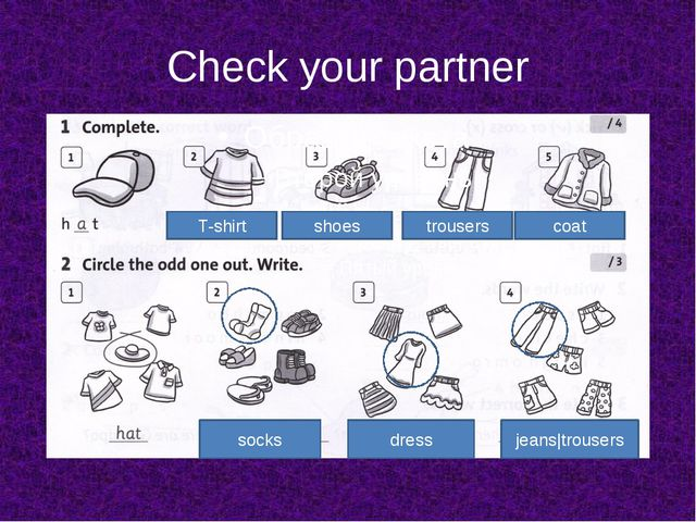 Check your partner socks dress jeans trousers T-shirt shoes trousers coat