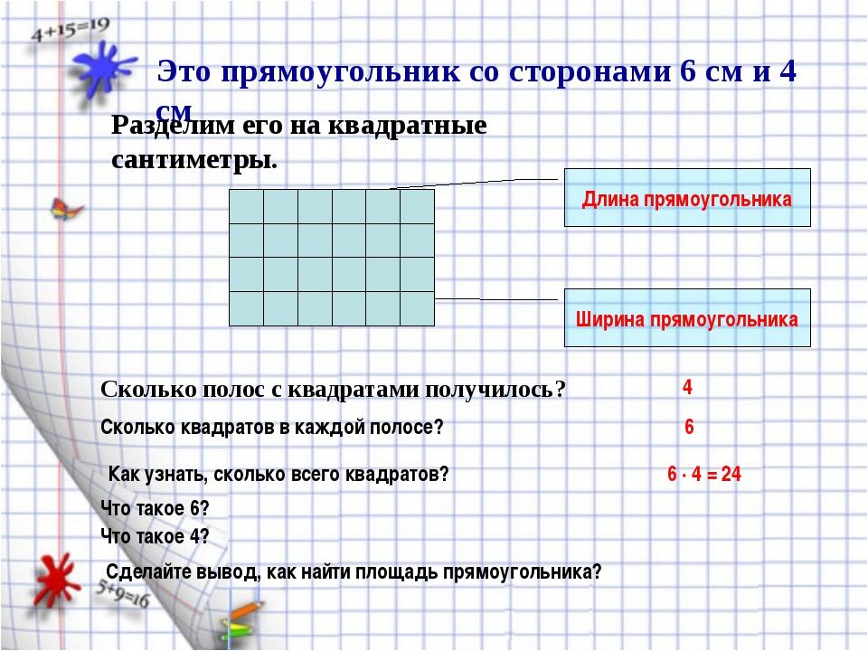 Это прямоугольник со сторонами 6 см и 4 см Разделим его на квадратные сантиме...