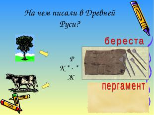 На чем писали в Древней Руси? Р К * - * Ж