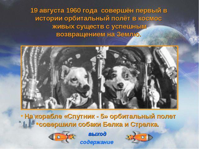 На корабле «Спутник - 5» орбитальный полет совершили собаки Белка и Стрелка....