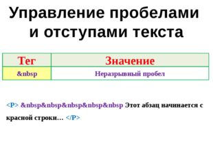 Управление пробелами и отступами текста  &nbsp&nbsp&nbsp&nbsp&nbsp Этот абзац