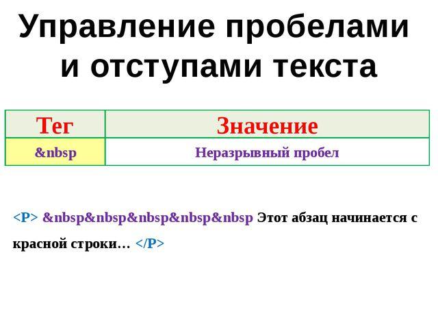 Управление пробелами и отступами текста  &nbsp&nbsp&nbsp&nbsp&nbsp Этот абзац...