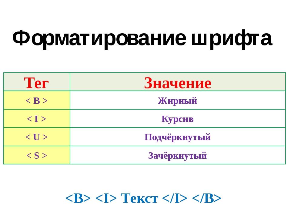 Тег Значение < B > Жирный < I > Курсив < U > Подчёркнутый < S > Зачёркнутый Ф...