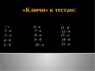 «Ключи» к тестам: 1 - в 3 - а 7 - в 4 - б 5 - б 6 - в 2 - а 10 - а 9 - б 8 -