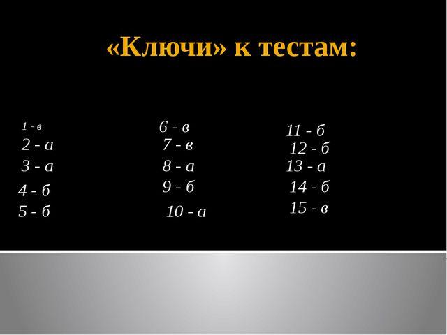 «Ключи» к тестам: 1 - в 3 - а 7 - в 4 - б 5 - б 6 - в 2 - а 10 - а 9 - б 8 -...